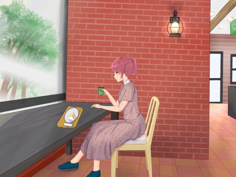 女の子横顔カフェ