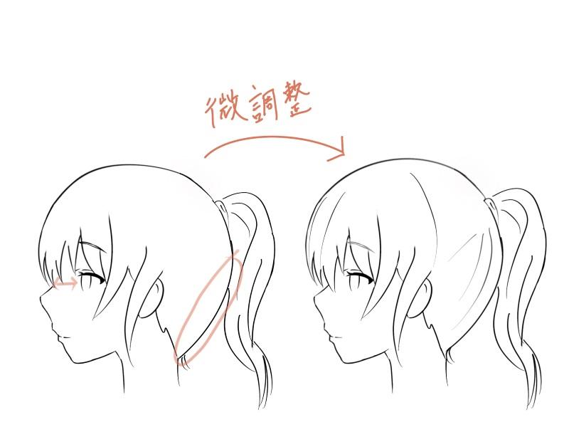 女の子横顔線画